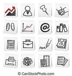 笔记纸, stickers., 卡通漫画, 手, 拖拉