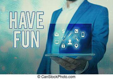 笔迹, 本身, 享乐, amusement., 概念, 正文, fun., 意思, 任务, 有, 提供