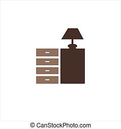 符号, 内部设计, 图标, 家具, 家, 家具, 矢量, 标识语
