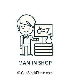符号, 商店, 水果, outline, 线性, 人, 价格, 概念, 矢量, 签署, 线, 图标