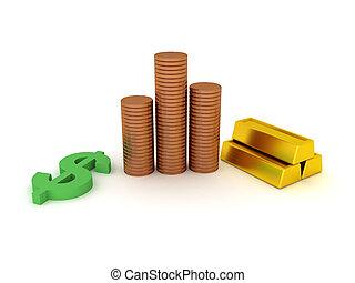 符号, 美元, 金子, 提供, 3d, 酒吧, 硬币