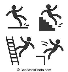 符号, falling., 警告, 人