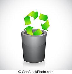 符號, 再循環, can., 插圖, 裡面, 垃圾