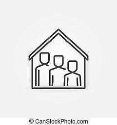 符號, 家庭, 屋頂, icon., 線, 房子, 停留, 家, 矢量, 在下面