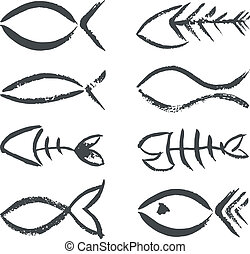 符號, 畫, fish, 手