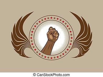 符號, 象征, 握緊拳頭, 或者