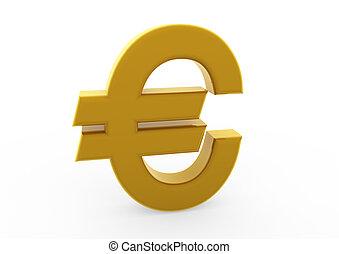 符號, 3d, 金, 歐元