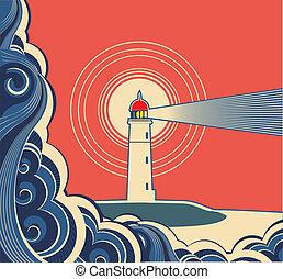 符號, sea., 燈塔, 藍色, 矢量, 海報
