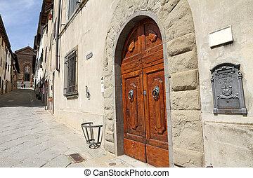 第一流, 意大利語, 郵箱, 以及, 雅致, 雙, 木制, 前門