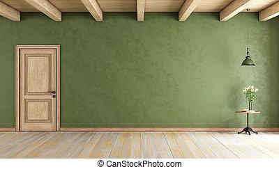 第一流, 綠色, 房間, 由于, 門