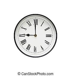 第一流, 黑色 和 白色, 輪, 鐘, 被隔离, 上, a, 白色, backgrou