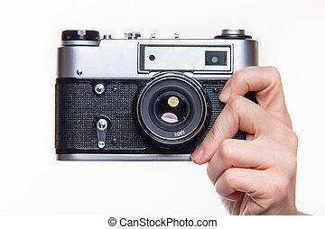 第一流, 35mm, 照片照像機, 在, 手