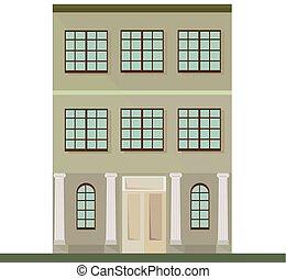 第一流, house., 描述, 矢量, 建筑学, 背景, 正面