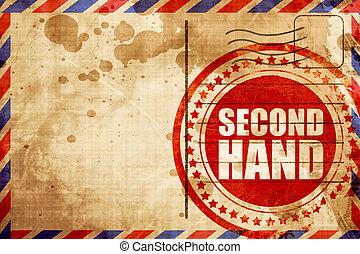 第二, 邮票, 航空, 背景, 手, grunge, 红