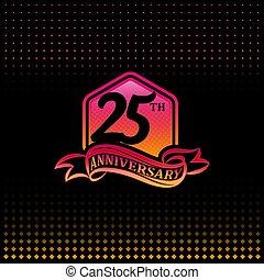 第25, 黒, 祝福, 背景, logotype., 記念日, 25, ロゴ, 年