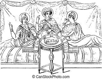 第3, 世紀, 型, 後で, virgil, バチカン, 食事, engraving.