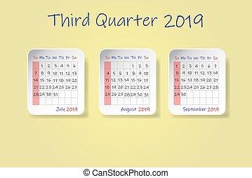第3, 色, 黄色, 2019, 年, カレンダー, 四分の一