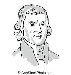 第3, 著者, 宣言, 独立, 合併した, jefferson, states., 大統領, 1(人・つ), thomas, ベクトル, illustration.