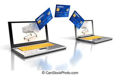 筆記本電腦, 卡片, 信用