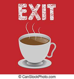 筆記, exit., 事務, 相片, 顯示, 斜坡梯, 離開, 離開, 交通, 罐頭, 方式, showcasing, 地方, 寫, 那裡, 高速公路, 在外