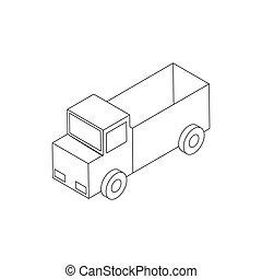 等大, おもちゃ, スタイル, トラック, アイコン, 3d