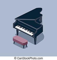 等大, イラスト, ベクトル, 黒, グランドピアノ
