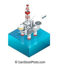 等大, オイル, 湾, ガス, energy., プラットホーム, ベクトル, sea., 世界, 用具一式, icon., 沖合いに, ∥あるいは∥, construction.