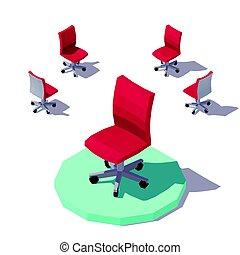 等大, オフィス, poly, ベクトル, 低い, 椅子, 赤