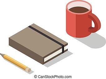 等大, カップ, コーヒー, ノート, ベクトル, イラスト