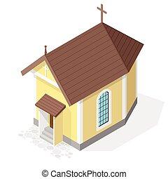 等大, キリスト教徒, 隔離された, バックグラウンド。, ベクトル, 教会, 小さい, 見通し, 白