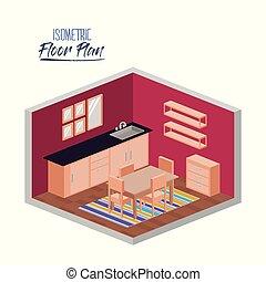 等大, シルエット, 部屋, カラフルである, 床, 食事をする, 計画, 台所, カーペット