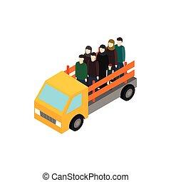 等大, スタイル, トラック, アイコン, refugees, 3d