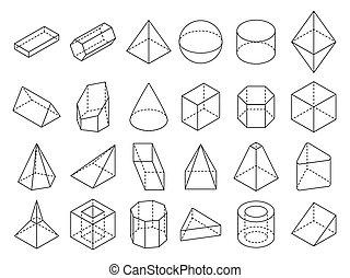 等大, セット, アウトライン, 抽象的, 形, ベクトル, 幾何学的, 3d