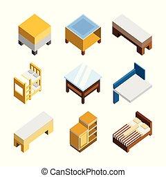 等大, セット, イラスト, 家, 3d, 家具