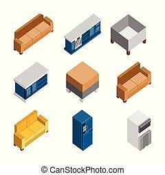 等大, セット, イラスト, 様々, 家, 家具, 3d