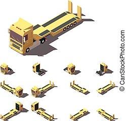 等大, セット, セミトレーラー, lowboy, ベクトル, トラック, アイコン