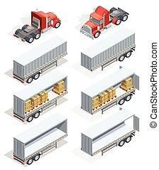等大, セット, トラック, アイコン