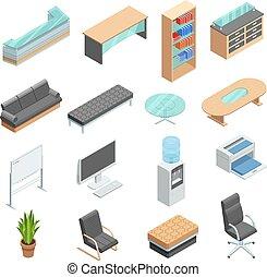 等大, セット, 家具, オフィスアイコン