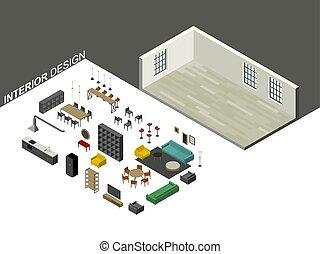 等大, セット, 家具, 光景