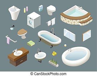 等大, セット, 家具, 浴室, icons., ベクトル, デザイン, 内部, 家, 3d