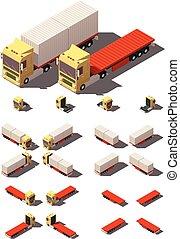 等大, セット, 容器, セミトレーラー, ベクトル, トラック, アイコン