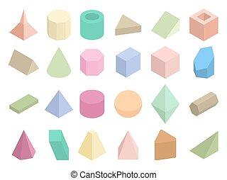 等大, セット, 色, 形, ベクトル, 幾何学的, 3d