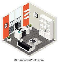 等大, セット, 部屋, オフィス, 家, アイコン