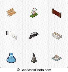 等大, セット, elements., 障壁, 橋, 含む, また, ベクトル, 建築, 像, 植物, objects., 他, 懸濁液, レクリエーション