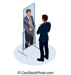 等大, タイを調節しているビジネスマン, の前, ∥, 鏡。, 人, 点検, 彼の, 出現, 中に, ∥, 鏡。, ビジネスマン, 見る, 彼自身, 中に, ∥, 鏡, ベクトル, 平ら, デザイン, illustration.