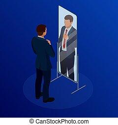 等大, タイを調節しているビジネスマン, の前, ∥, 鏡。, 人, 点検, 彼の, 出現, 中に, ∥, 鏡。, ビジネスマン, 見る, 彼自身, 中に, ∥, 鏡, ベクトル, 平ら, デザイン, イラスト