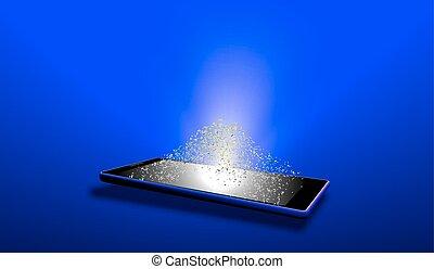 等大, タブレット, イメージ, screen., イラスト, ベクトル, 明るい, 電子