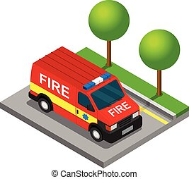 等大, バン, 自動車, 消防士, ピックアップ トラック, 輸送, 3d