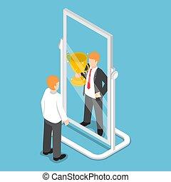 等大, ビジネスマン, 見なさい、, 彼自身, ある, 成功した, 中に, ∥, 鏡