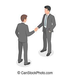 等大, ビジネス 人々, deal., 合意, 手, 作成, 動揺
